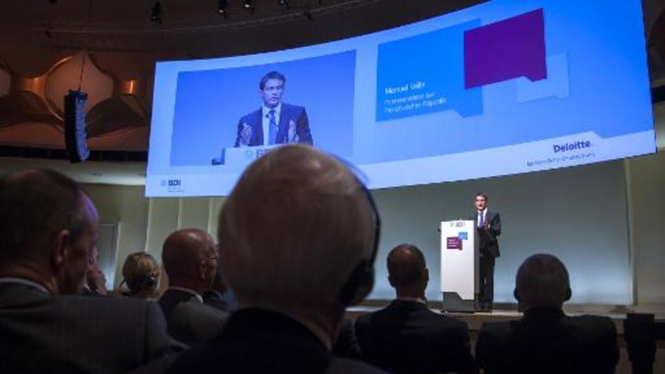 Le Premier ministre, Manuel Valls, le 23 septembre 2014 devant le patronat allemand à Berlin