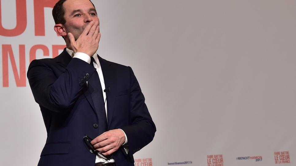 Benoît Hamon vainqueur de la primaire élargie du PS, le 29 janvier 2017 à Paris