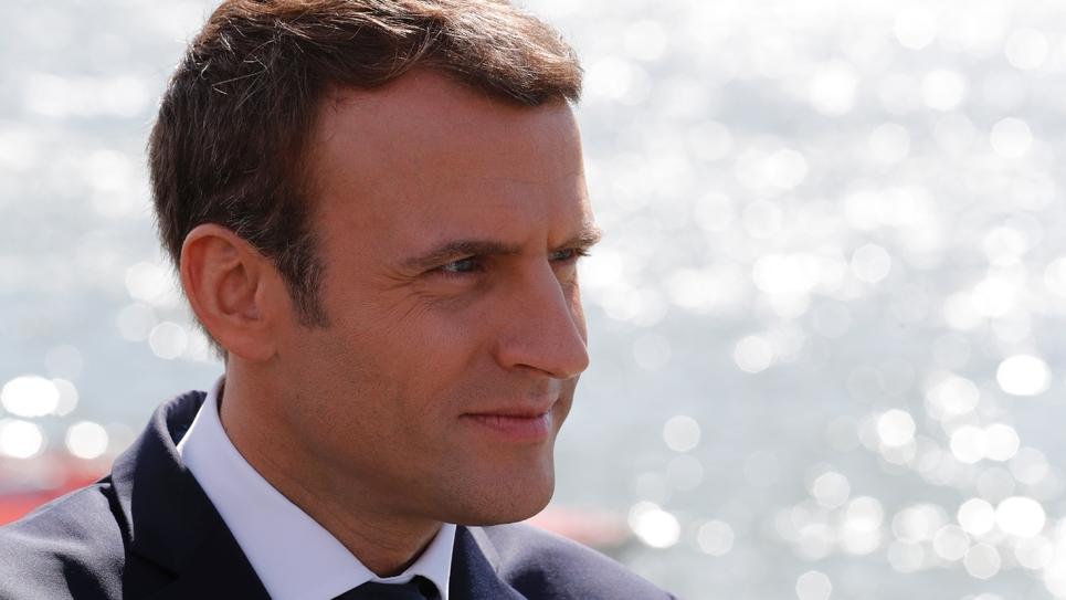 Le président Emmanuel Macron à Moisson (Yvelines), le 3 août 2017