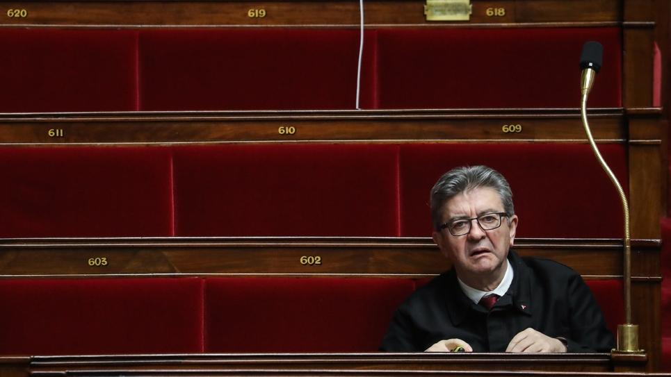 Le dirigeant de La France Insoumise (LFI) Jean-Luc Mélenchon, lors de l'examen des motions de censure à l'Assemblée nationale, le 3 mars 2020