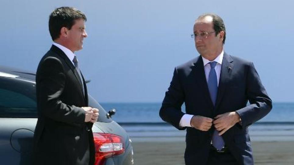 Manuel Valls et Francois Hollande le 6 juin 2014 à Ouistreham