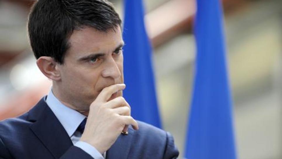 Le Premier ministre Manuel Valls assiste à l'inauguration d'une usine le 16 janvier 2015 à Ergue-Gaberic
