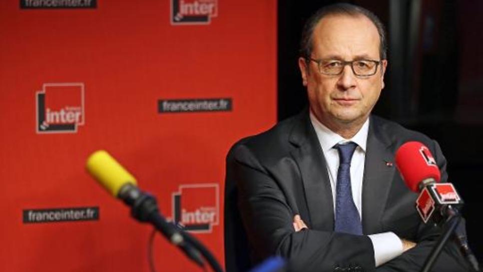 François Hollande dans les studios de France Inter, le 5 janvier 2015