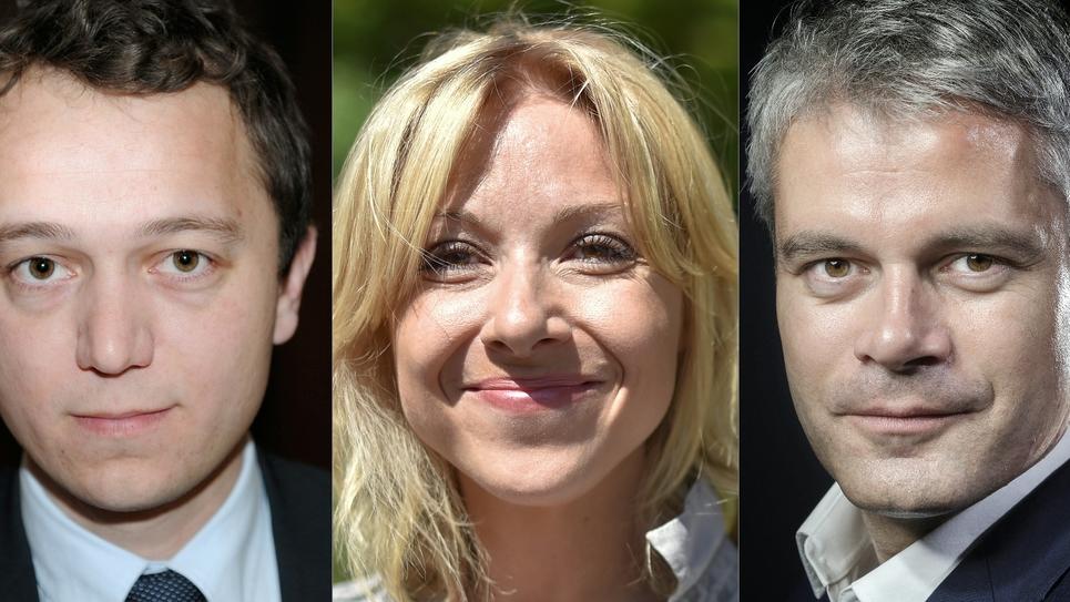 La course à la présidence des Républicains se jouera entre trois candidats, Laurent Wauquiez (à droite), grand favori, Florence Portelli (au centre) et Maël de Calan (à gauche)