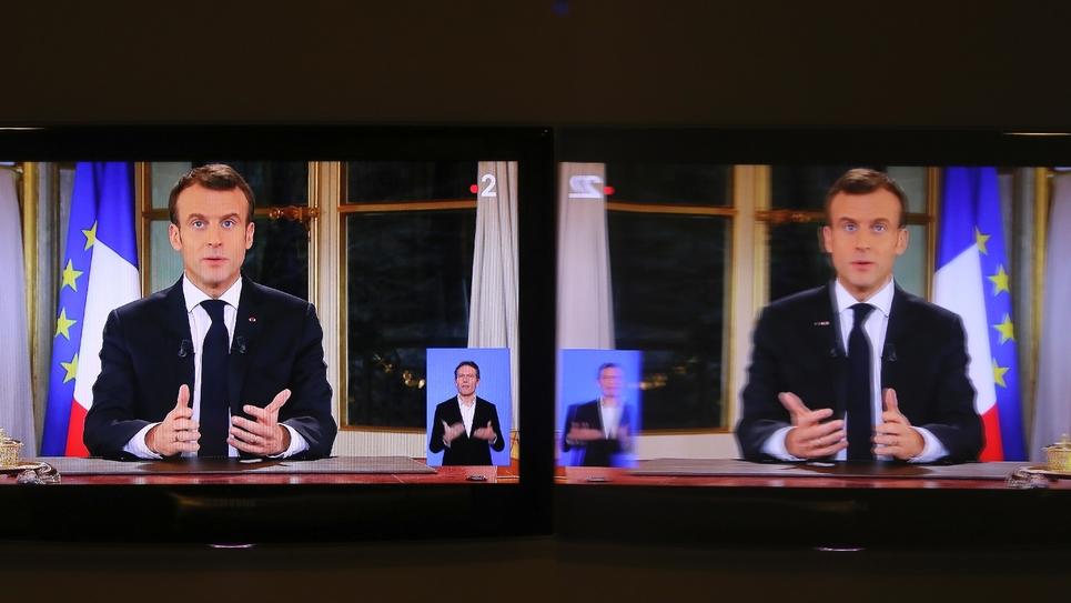 Le président de la République Emmanuel Macron lors d'un discours aux Français depuis l'Elysée à Paris le 10 décembre 2018