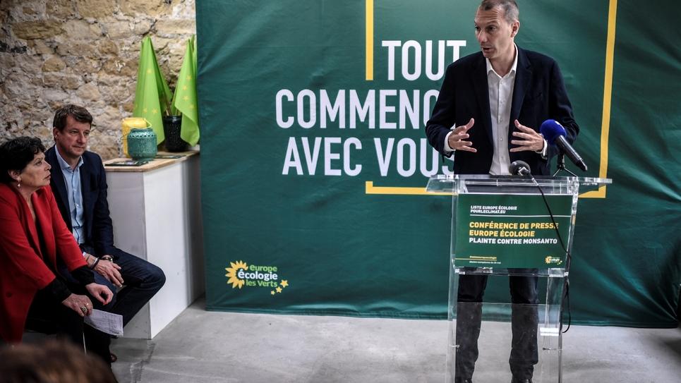 Le secrétaire national d'EELV David Cormand donne une conférence de presse au siège du parti à Paris, le 17 mai 2019