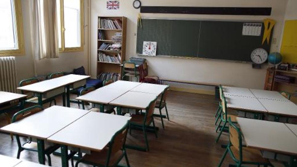 Une classe vide le 1er septembre 2014 à la veille de la rentrée scolaire dans le 9e arrondissement à Paris