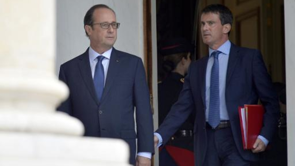 François Hollande et Manuel Valls le 27 août 2014 à l'Elysée à Paris