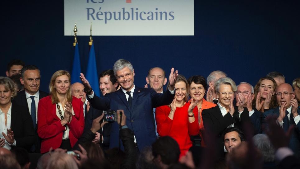 Le président des Républicains Laurent Wauquiez (c) lors d'un Conseil national de LR, le 16 mars 2019 à Lyon
