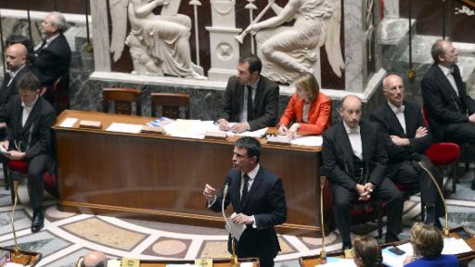Manuel Valls s'exprime devant l'Assemblée nationale, le 5 mai 2015 à Paris