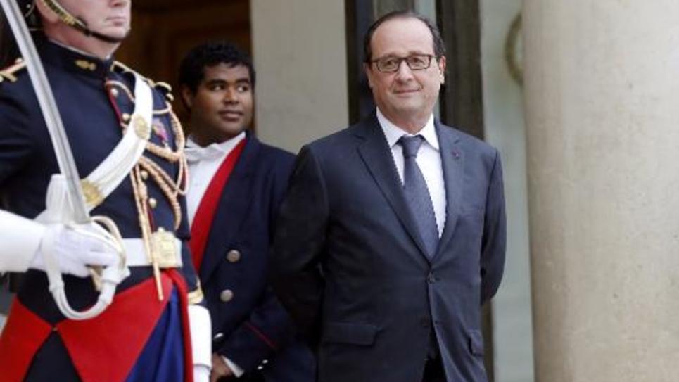 Le président François Hollande le 8 juillet 2014 sur le perron de l'Elysée à Paris