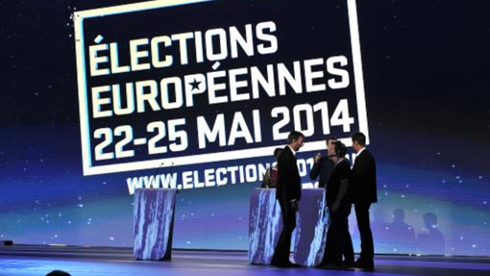 La salle du Parlement européen où sont annoncés les résulats des élections européennes le 25 mai 2014 à Bruxelles