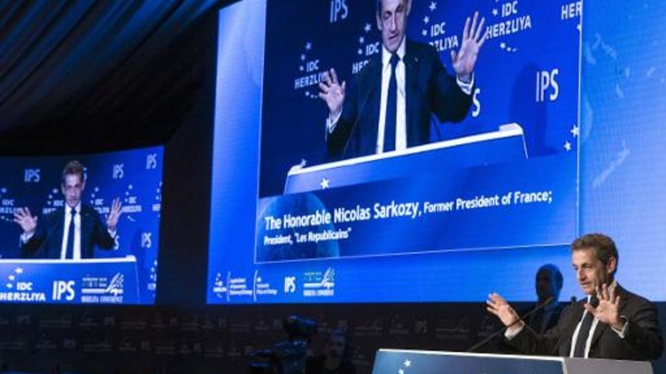 Nicolas Sarkozy, ancien président français, s'exprime lors de la 15e conférence stratégique de Herzliya, au nord de Tel Aviv, le 8 juin 2015