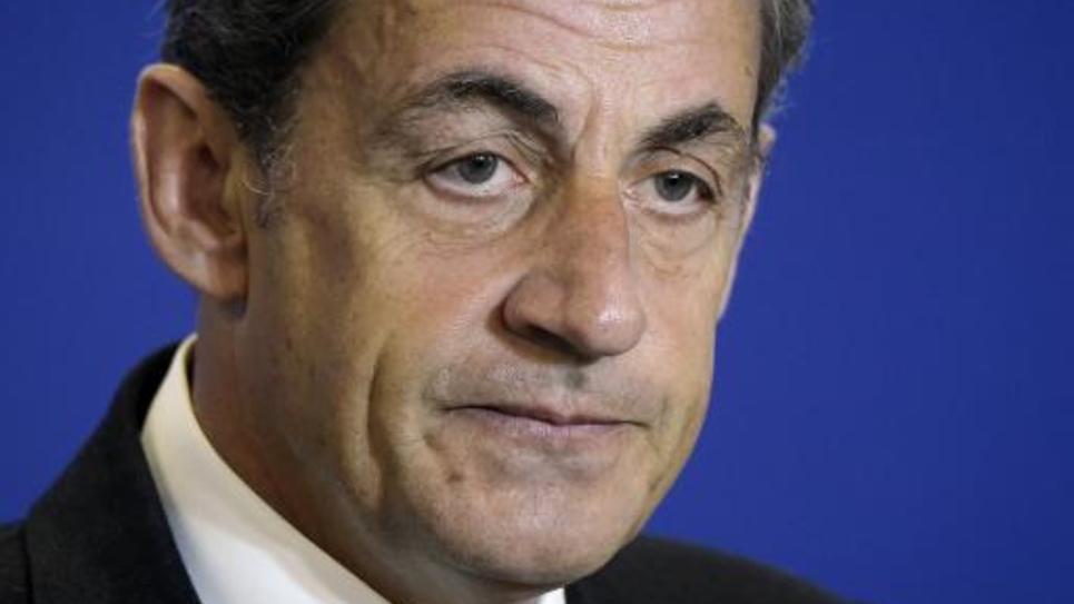 L'ancien président de la République et président de l'UMP Nicolas Sarkozy au siège du parti à Paris, le 17 janvier 2015