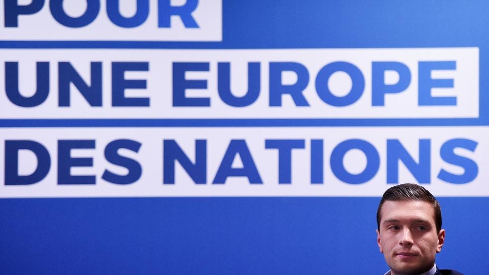 La tête de liste du Rassemblement national aux élections européennes, Jordan Bardella, lors de la présentation de son programme à Strasbourg, le 15 avril 2019