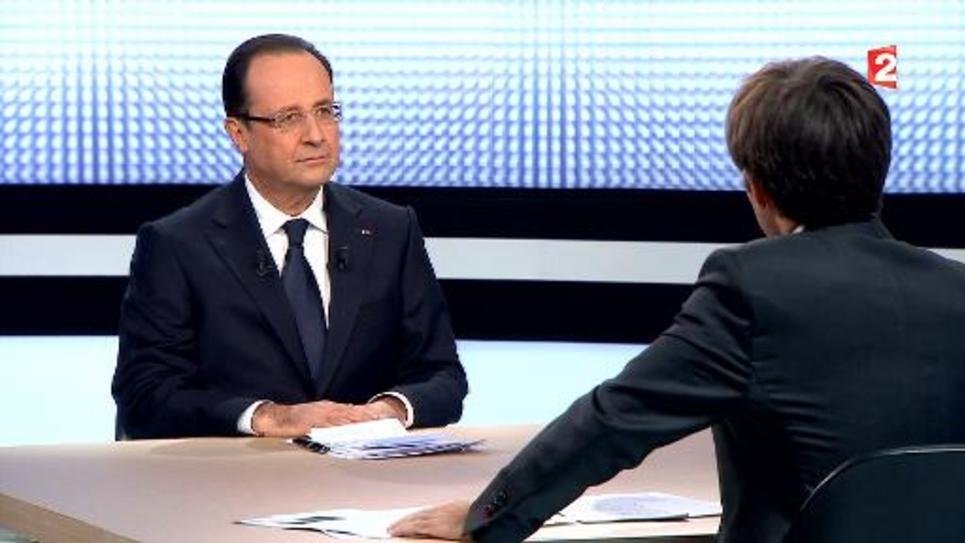 Francois Hollande interrogé par David Pujadas le 28 mars 2013 sur France 2