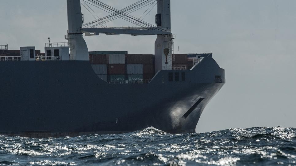 Photo du cargo saoudien Bahri Yanbu, le 9 mai 2019 au large du Havre