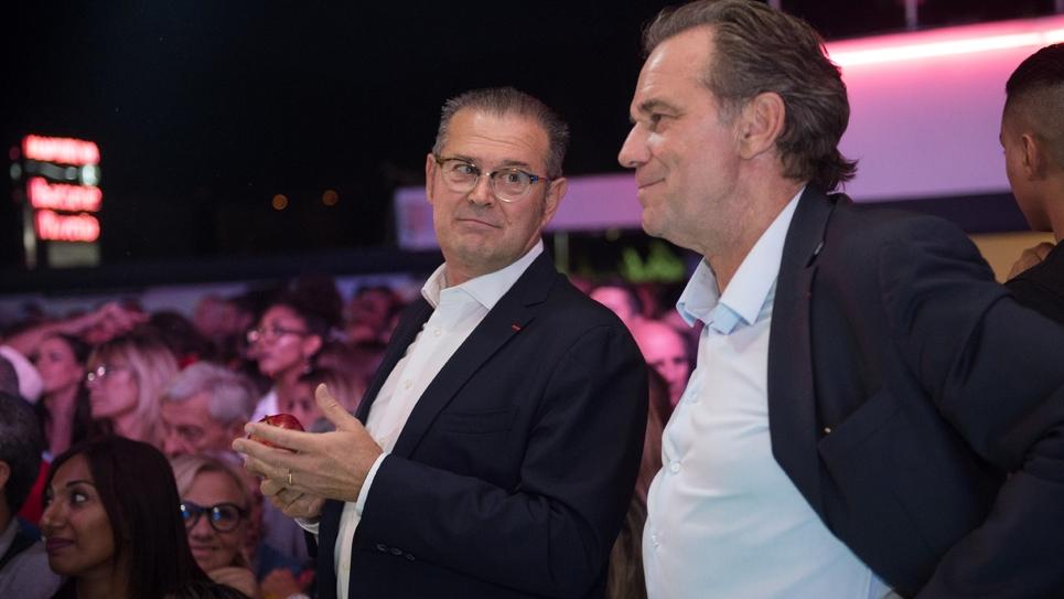 Bruno Gilles (G) et le président de la Région PACA Renaud Muselier en meeting à Marseille, le 27 septembre 2019
