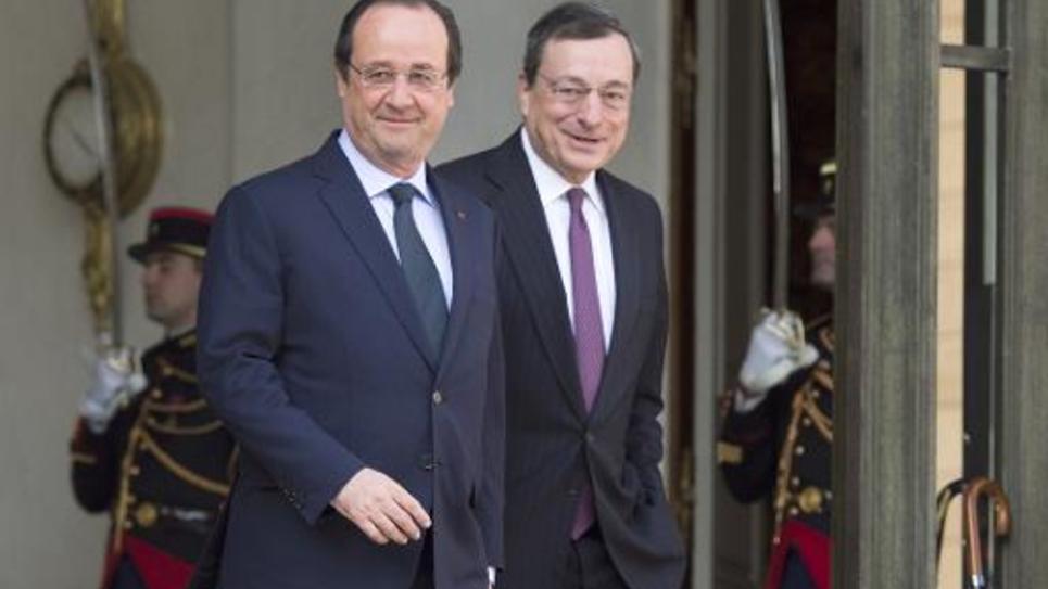 Francois Hollande et Mario Draghi le 26 mars 2014 à l'Elysée à Paris