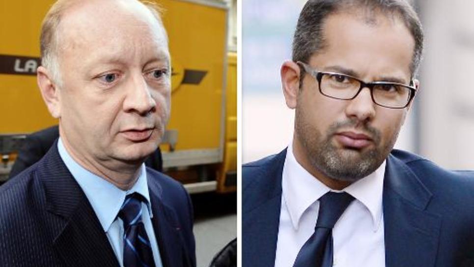 Eric Cesari (g) et Pierre Chassat, deux des ex-cadres de l'UMP mis en cause, photographiés le 15 octobre 2012 à Paris