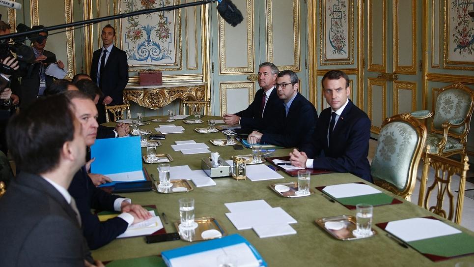 Réunion le 2 décembre 2018 avec le président Emmanuel Macron et des membres du gouvernement, à l'Elysée