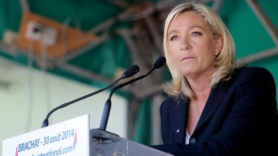 Marine Le Pen, présidente du FN, le 30 août 2014 à Brachay, en Haute-Marne