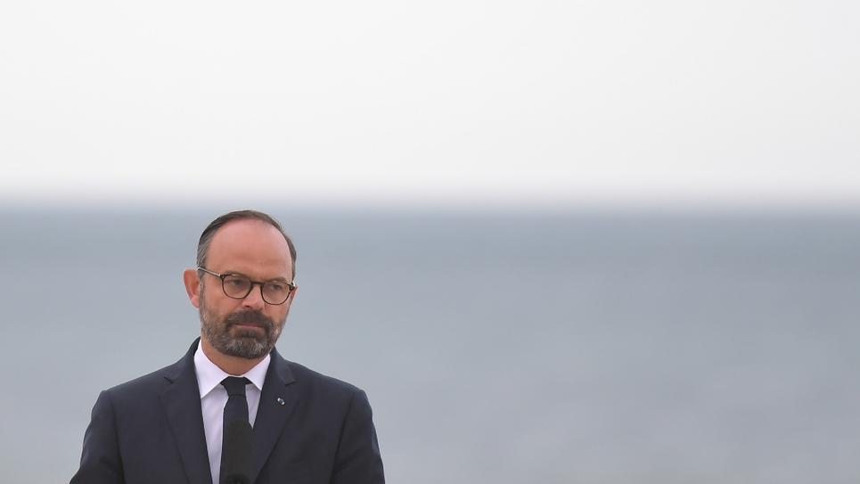 Le Premier ministre Edouard Philippe s'exprime le 6 juin 2019 à Courseulles-sur-Mer, à l'occasion du 75ème anniversaire du Débarquement