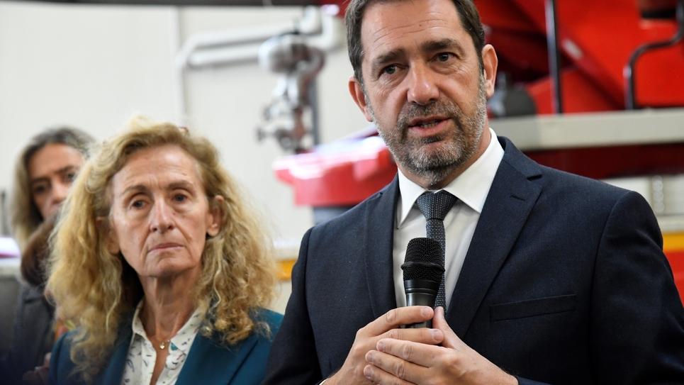Les ministres de la Justice Nicole Belloubet et de l'Intérieur Christophe Castaner à Chanteloup-les-Vignes le 5 novembre