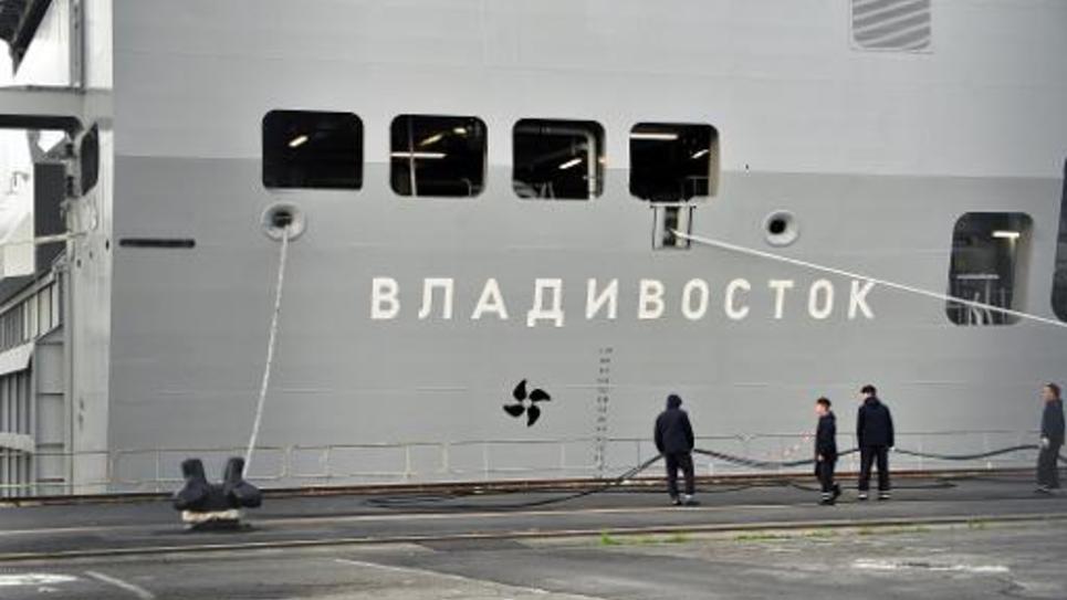 Le navire Mistral Vladivostok le 21 novembre 2014 dans le port de Saint-Nazaire