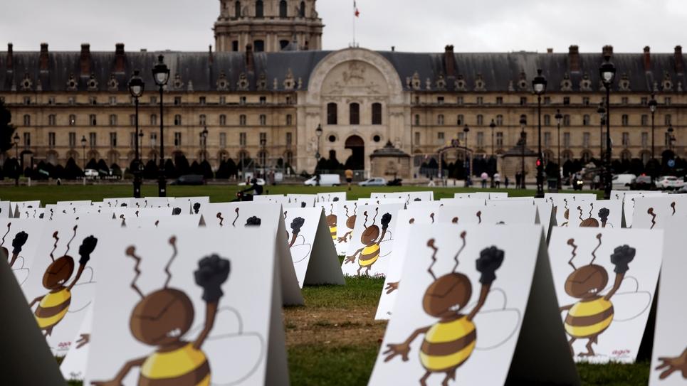 Manifestation pour protester contre les dérogations envisagées pour l'utilisation des néonicotinoïdes, le 23 septembre 2020 aux Invalides à Paris