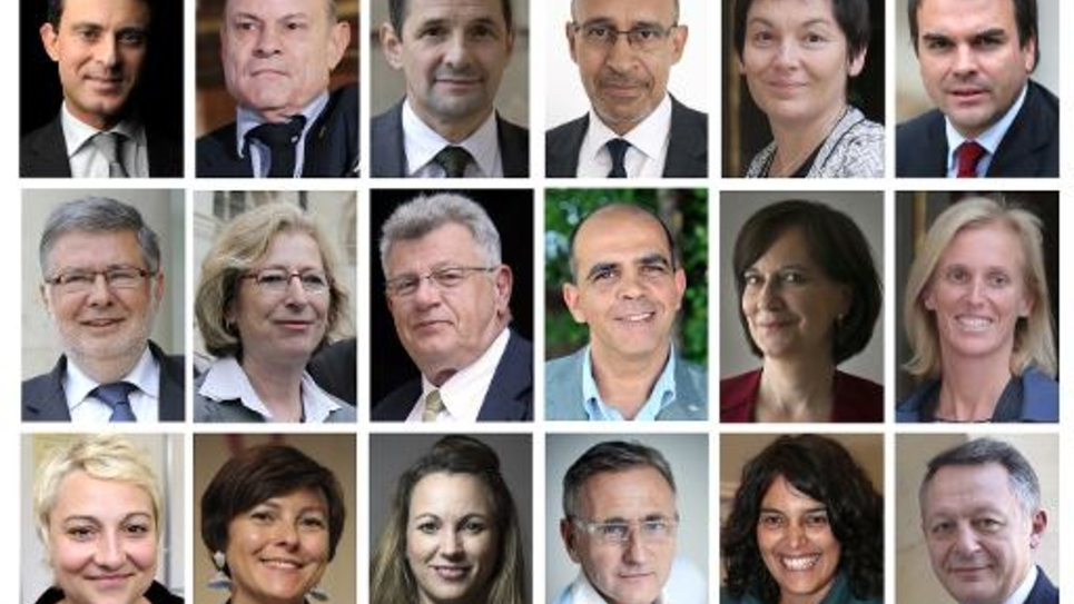 Photo montage des 18 principaux ministres du gouvernemnet Valls II, nommé le 26 aout 2014