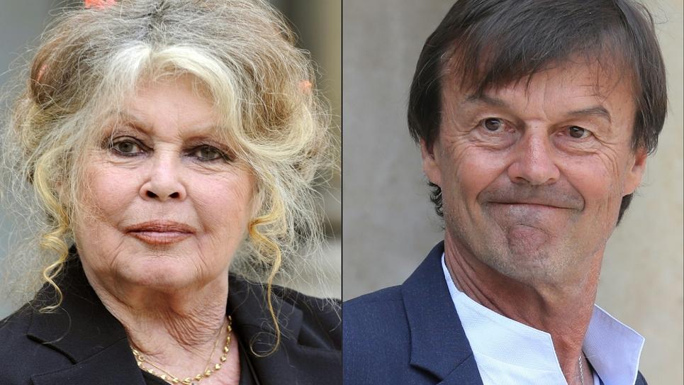 Brigitte Bardot à l'Elysée en septembre 2007 et Nicolat Hulot, qui a démissionné du gouvernement mardi 28 août 2018