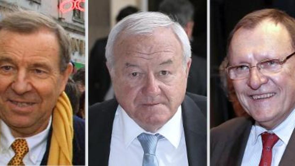 (De g à d) Les trois parlementaires UMP: Lucien Degauchy à Compiègne en janvier 2001, Bernard Brochand le 29 avril 2014 à Paris et le sénateur Bruno Sido le 16 avril 2013 à Paris