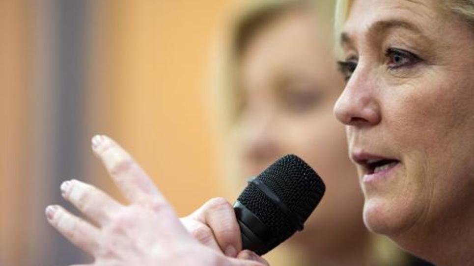 Marine Le Pen, la présidente du Front National,le 23 janvier 2015, à Seloncourt dans le Doubs