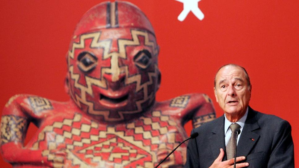 """Jacques Chirac inaugure le 20 juin 2006 le """"Musée du quai Branly"""", dédié aux arts premiers, à Paris"""