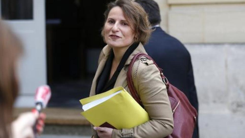 La rapporteure générale du Budget Valérie Rabault arrive à Matignon, le 22 avril 2014 à Paris