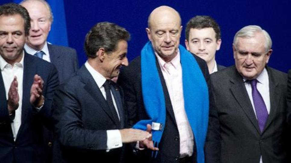 Nicolas Sarkozy, Alain Juppé et    Jean-Pierre Raffarin le 7 février 2015 à Paris