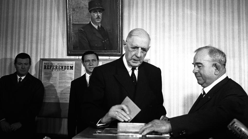 Charles de Gaulle, le jour du référendum de 1969