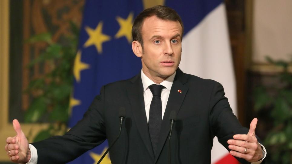 Le président français Emmanuel Macron lors d'une conférence de presse au Caire, le 28 janvier 2018
