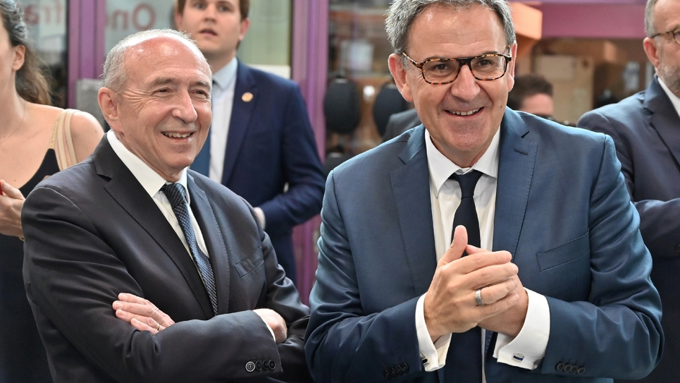 Gérard Collomb et David Kimelfeld le 8 juillet 2018 à Villeurbanne lors de la visite d'Emmanuel Macron