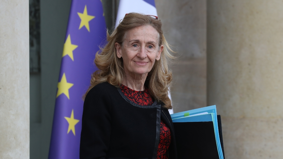 La ministre de la Justice Nicole Belloubet à la sortie de l'Elysée, le 19 février 2020 à Paris