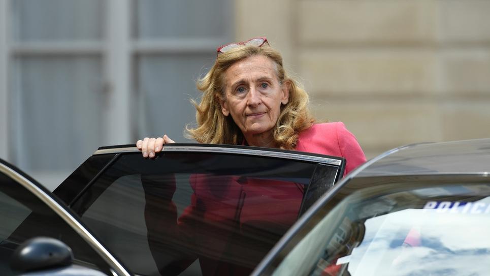 La ministre de la Justice Nicole Belloubet quitte l'Élysée à Paris, le 18 juillet 2018