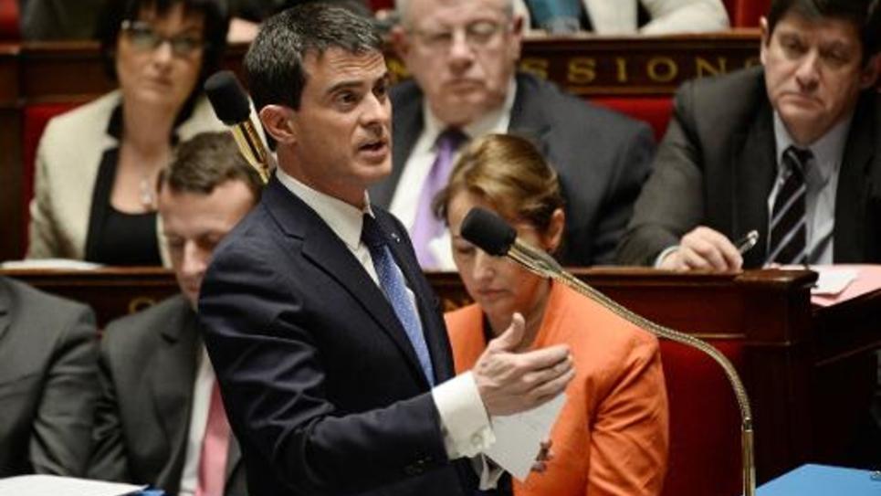 Le premier ministre Manuel Valls répond à des questions des parlementaires français, le 21 janvier 2015 à l'Assemblée