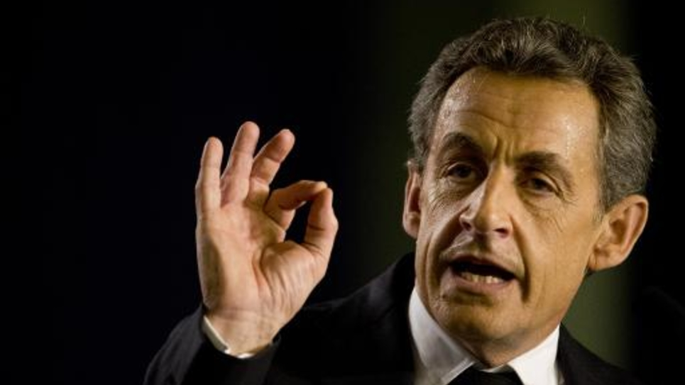 Nicolas Sarkozy, président de l'UMP, lors d'un meeting avant la tenue des élections départementales le 9 mars 2015 à Saint-Maur-des-Fossés
