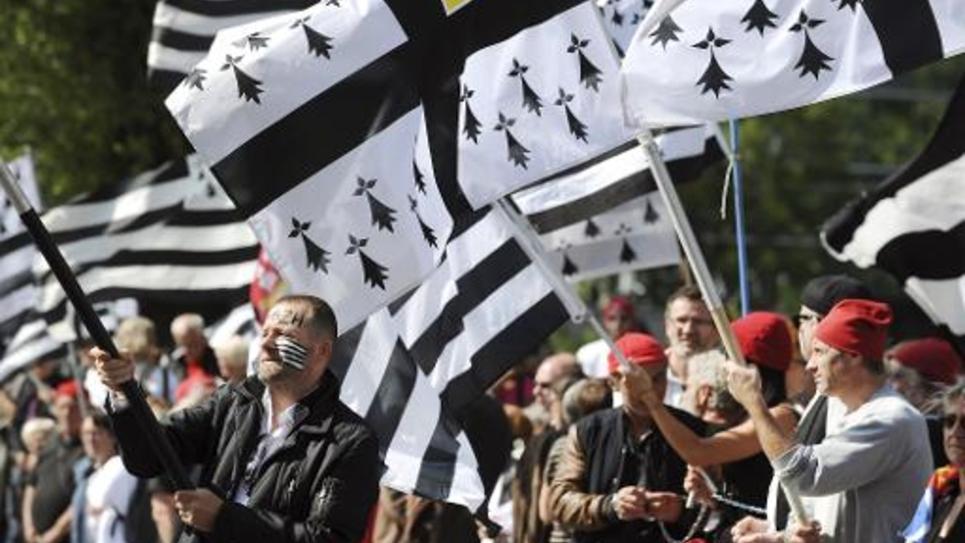"""Des manifestants à Nantes pour la """"réunification"""" de la Bretagne, le 31 mai 2014"""