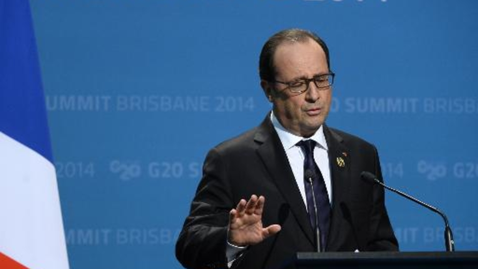 Francois Hollande en conférence de presse à la fin du G20 le 16 novembre 2014 à Brisbane