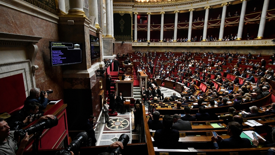 L'Assemblée nationale à Paris le 6 novembre 2018