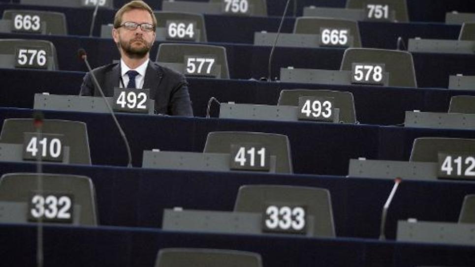 Le député européen français Jérôme Lavrilleux le 1er juillet 2014 au Parlement européen à Strasbourg