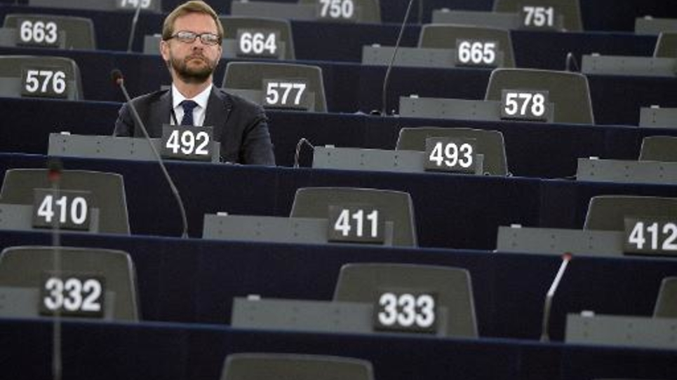 L'eurodéputé Jérôme Lavrilleux lors d'une séance du Parlement européen de Strasbourg le 1er juillet 2014