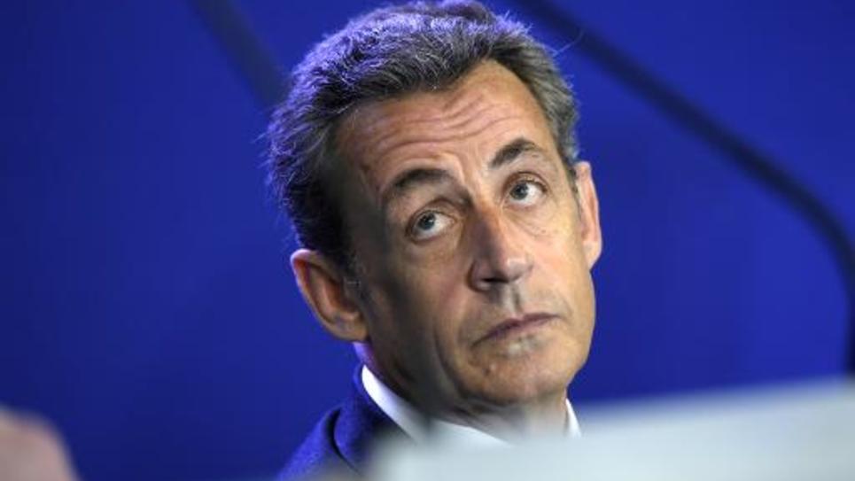 Nicolas Sarkozy le 17 janvier 2015 au siège de l'UMP à Paris